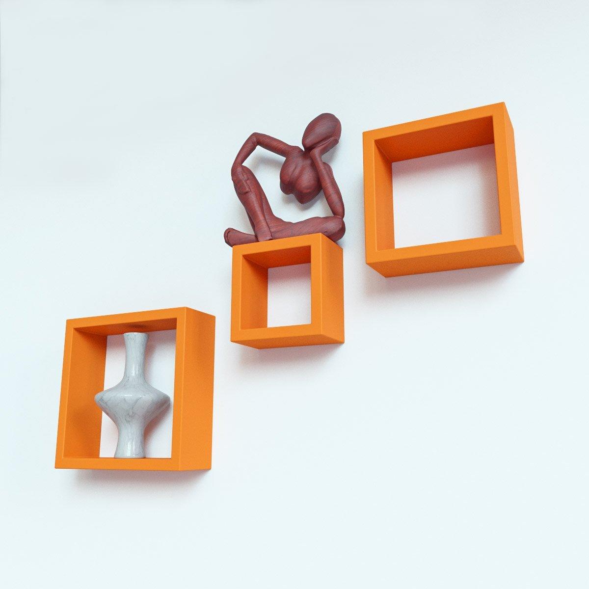 home decor square orange wall racks in set of 3