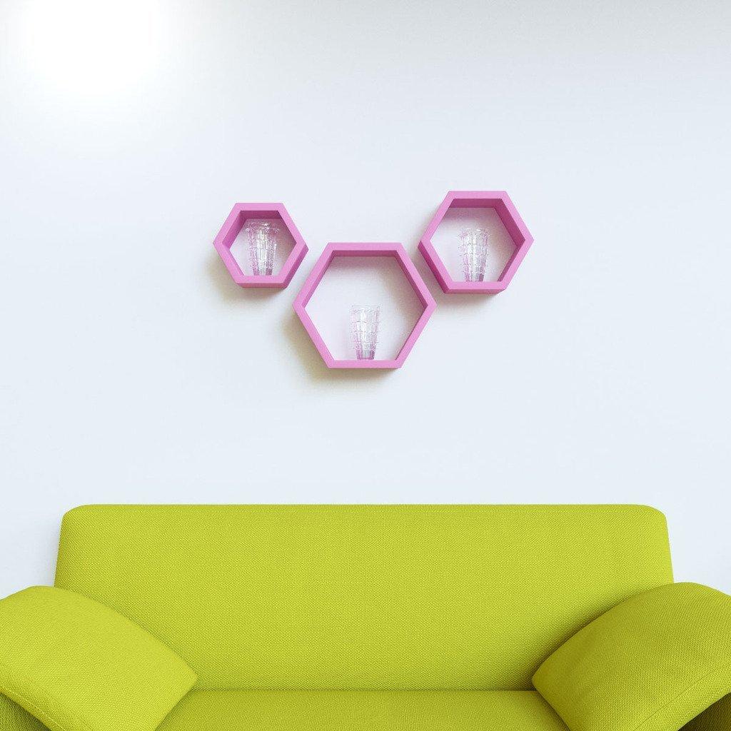 home decor wall racks pink set of 3