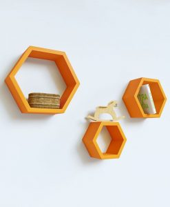 living room furniture hexagon wall shelves orange