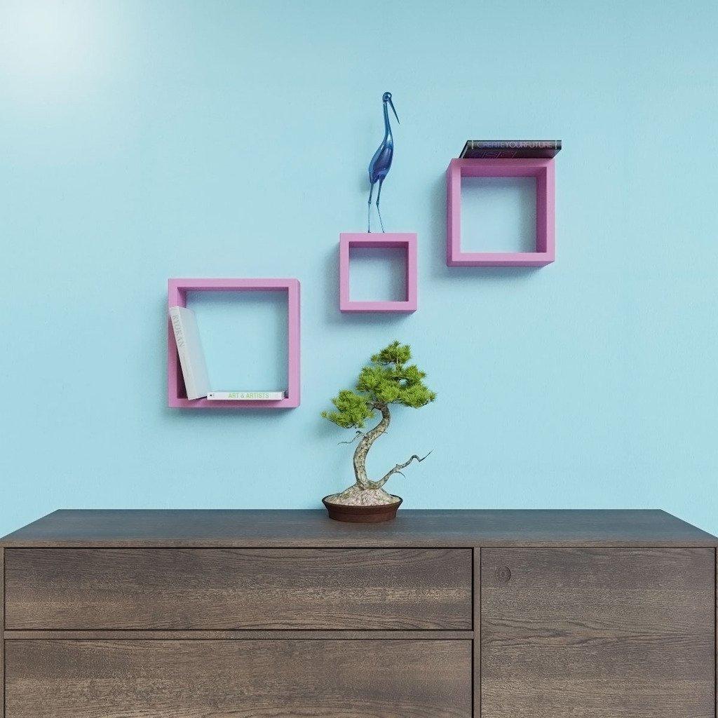 living room furniture pink square wall racks