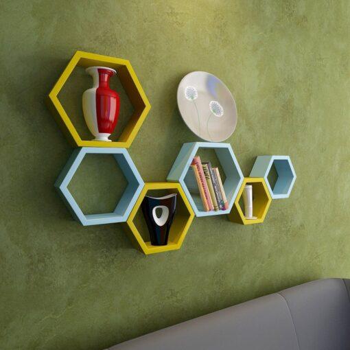 nesting hexagon yellow skyblue wall shelves for sale