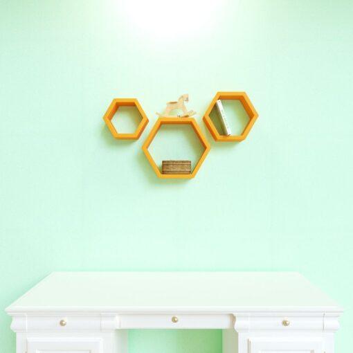 orange set of 3 wall shelves for home decor