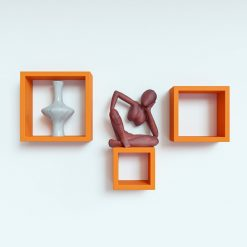 orange square display wall shelves for sale