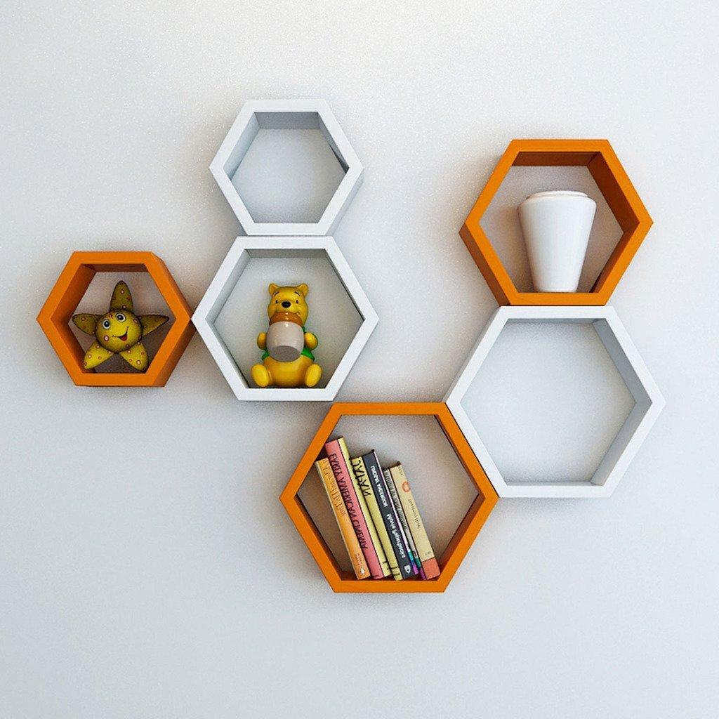 orange white set of 6 hexagon wall shelves