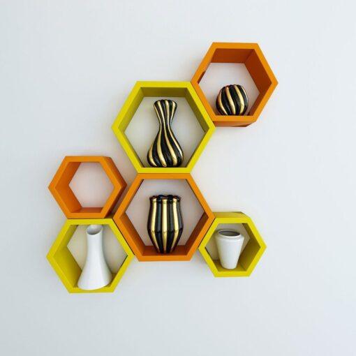 orange yellow hexagon wall shelves for sale