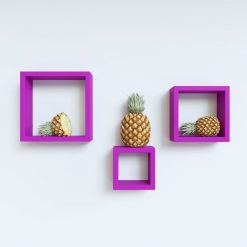 purple color square wall shelves for room decor