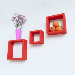 red decorative wall shelves for living room