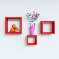 red square wall shelves for display and storage
