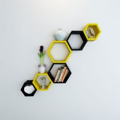 room decor hexagon yellow black shelves