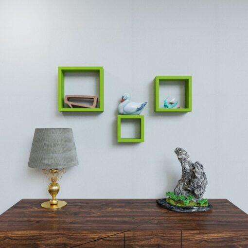 set of 3 decorative wall shelf brackets green