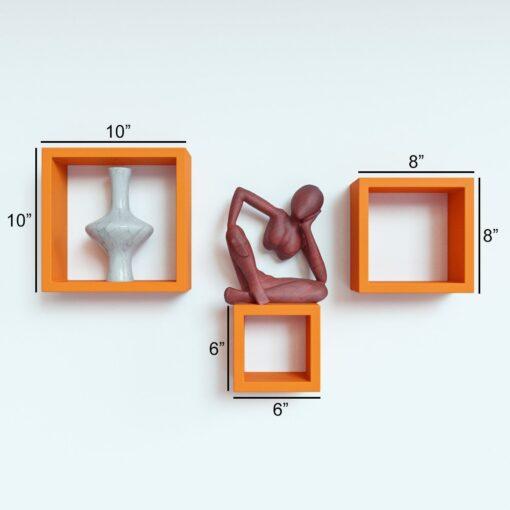 set of 3 decorative orange square wall shelves