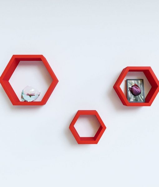 set of 3 hexagon wall racks red color for sale