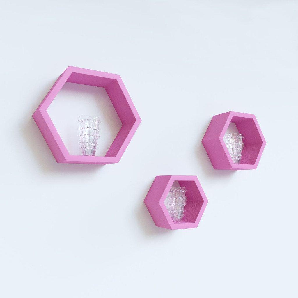 set of 3 hexagon wall shelf brackets for sale