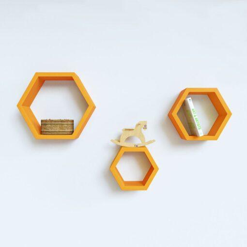set of 3 orange hexagon wall shelves for bedroom decor