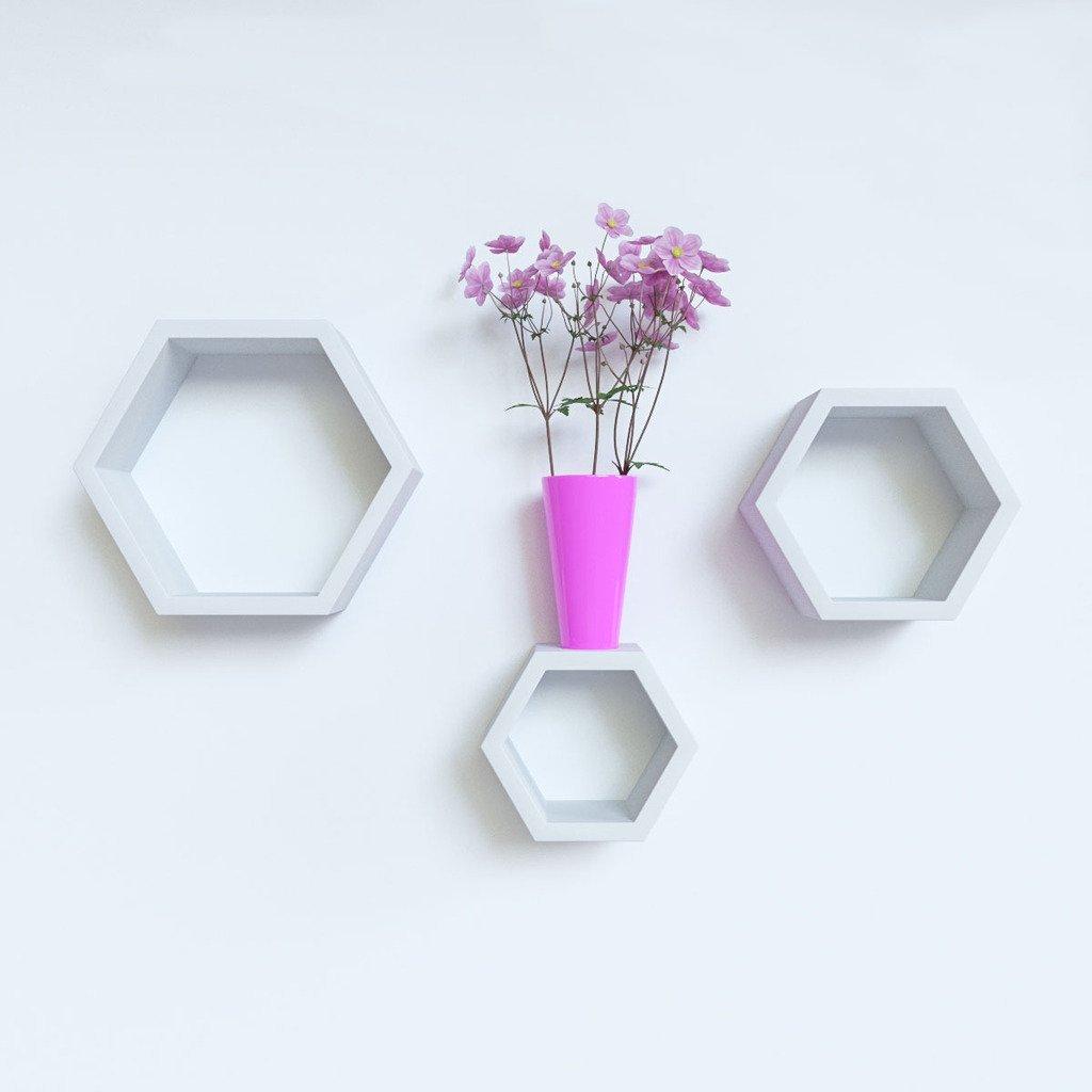 set of 3 white shelves for home decor