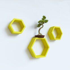 set of 3 yellow designer wall shelves for living room decor