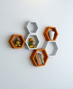 set of 6 floating wall shelves hexagon shape