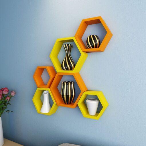 set of 6 orange yellow hexagon wall shelves for sale online india