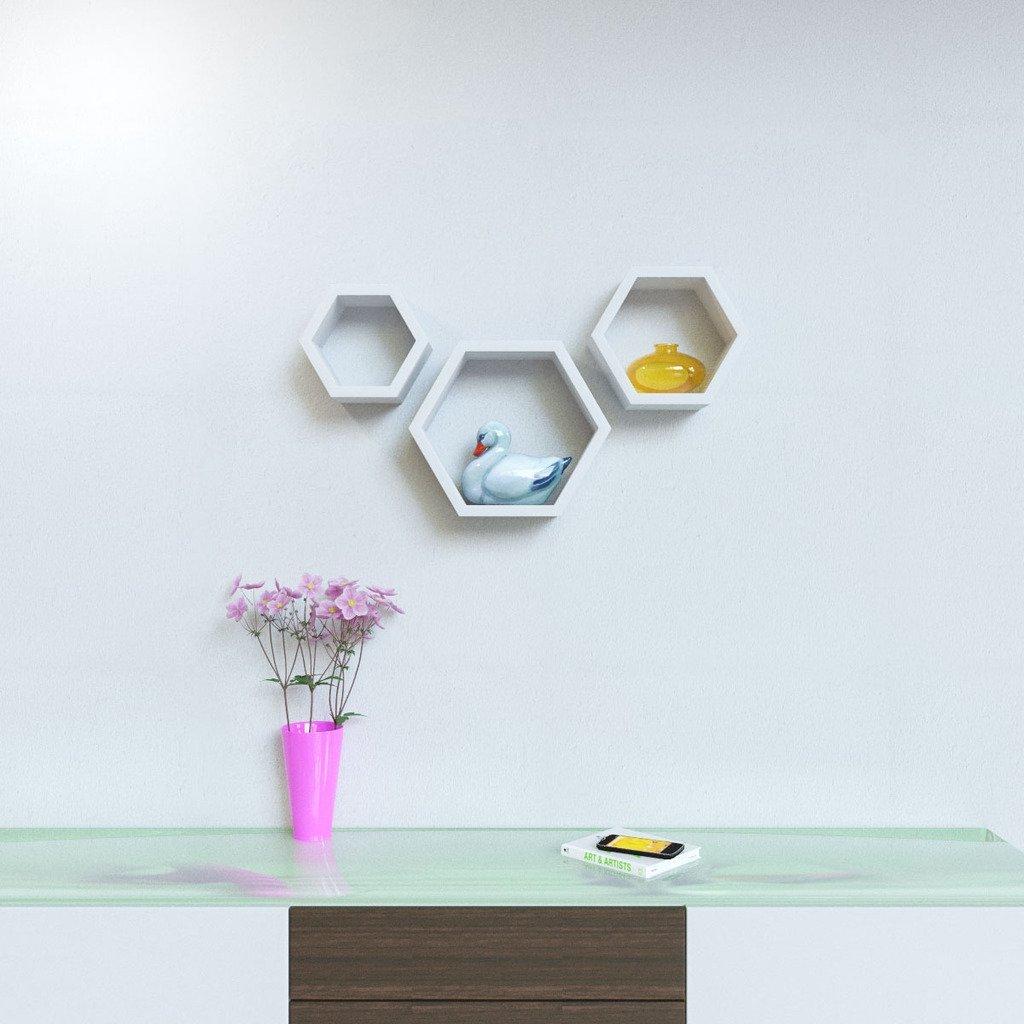 wall mounted hexagon wall racks white