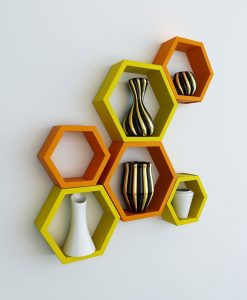 wall mounted hexagon orange yellow wall racks