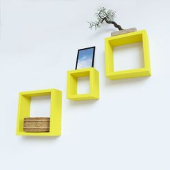 yellow cube decorative wall shelves for room decor