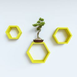 yellow decorative wall shelves for home decor