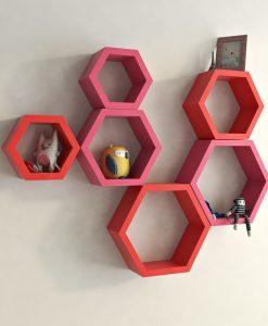 bedroom furniture wall shelves red pink
