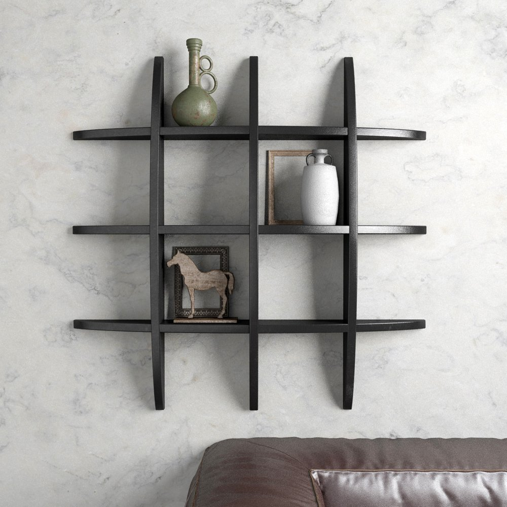 black decorative wall shelf