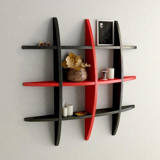 black red wall decor display rack