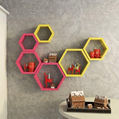 buy decornation pink yellow wall shelf brackets