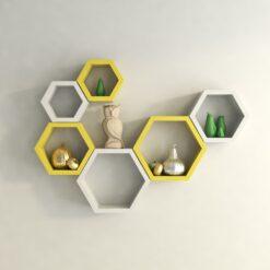 buy decornation yellow white hexagon shelves