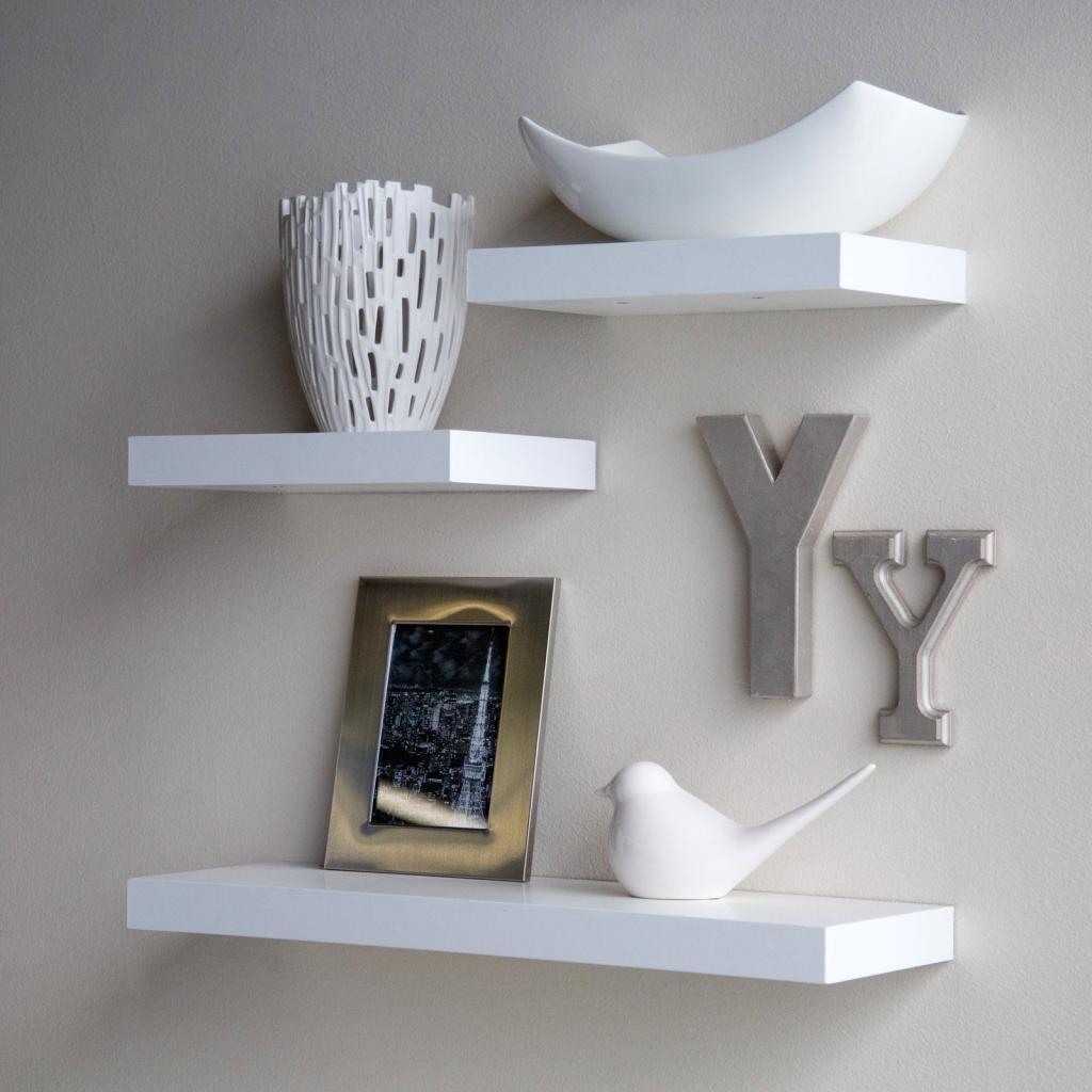 set of  three floating wall shelf racks  white  decornation - contemporary wall shelves for wall decor white