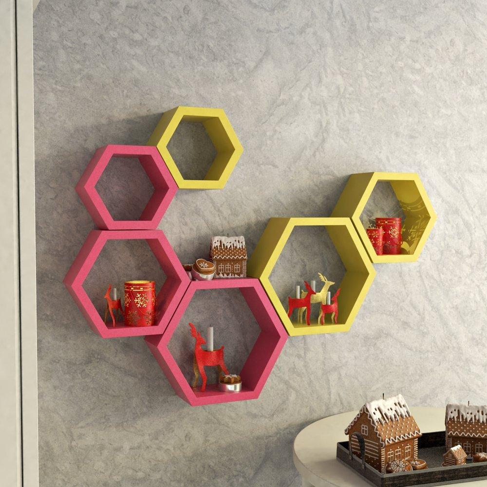 set of 6 designer hexagon wall shelf pink yellow. Black Bedroom Furniture Sets. Home Design Ideas