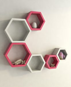 decorative hexagon wall shelves pink white