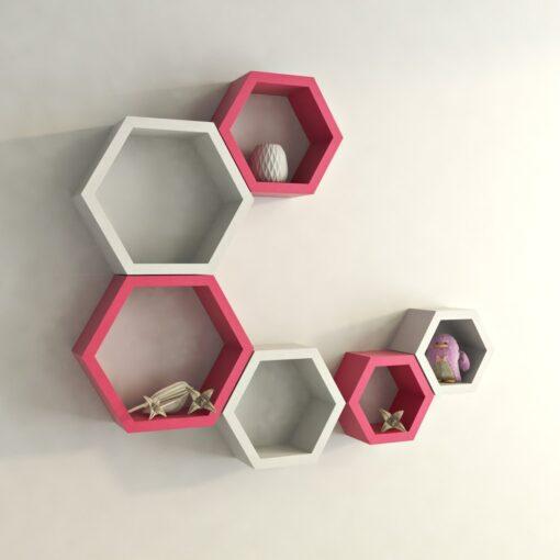 decorative hexagon wall shelves pink white