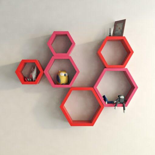 decorativred pink hexagon wall shelves for living room