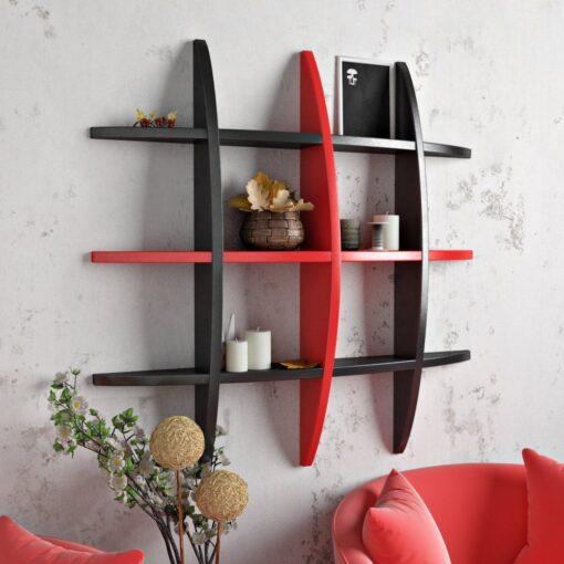 decornation designer wall shelf rack-black red