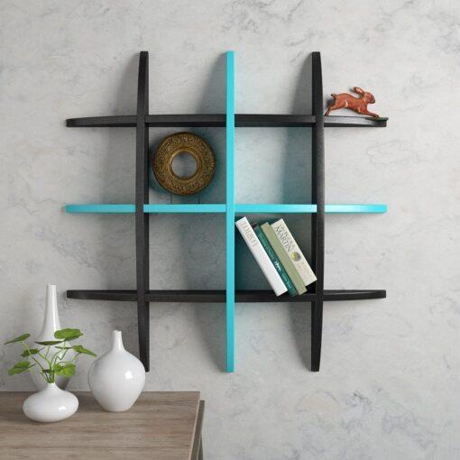 designer decor wall shelf black skyblue