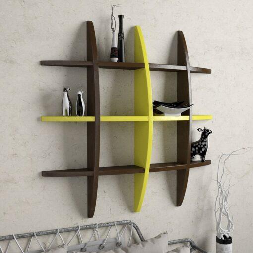designer display wall shelf brown yellow