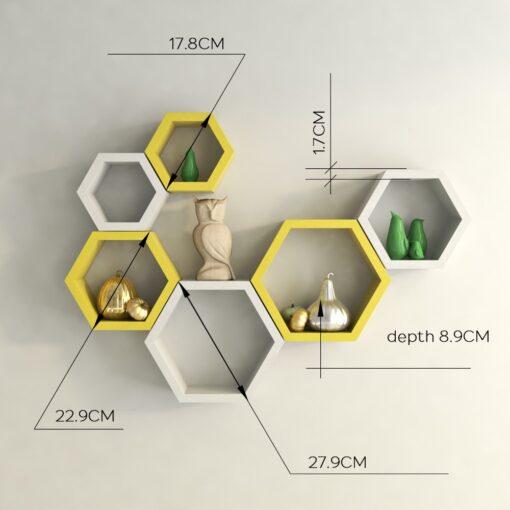 designer floating wall racks white yellow for display