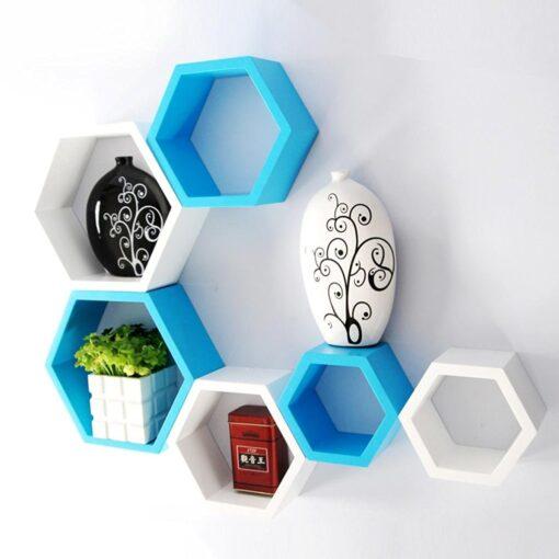 designer hexagon skyblue white wall shelves for sale