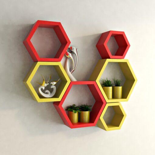 designer hexagon wall shelves for home decor