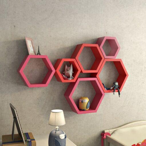 designer red pink hexagon wall shelves for home decor