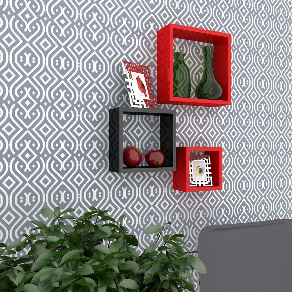 designer wall rack red black for home decor