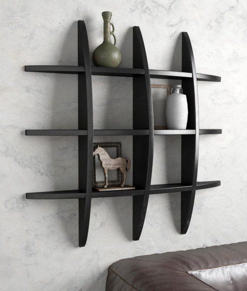 designer wall shelf black for living room