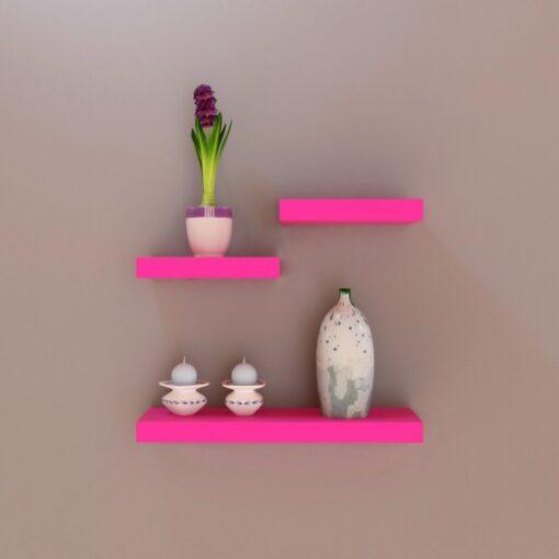 designer wall shelves pink color for storage