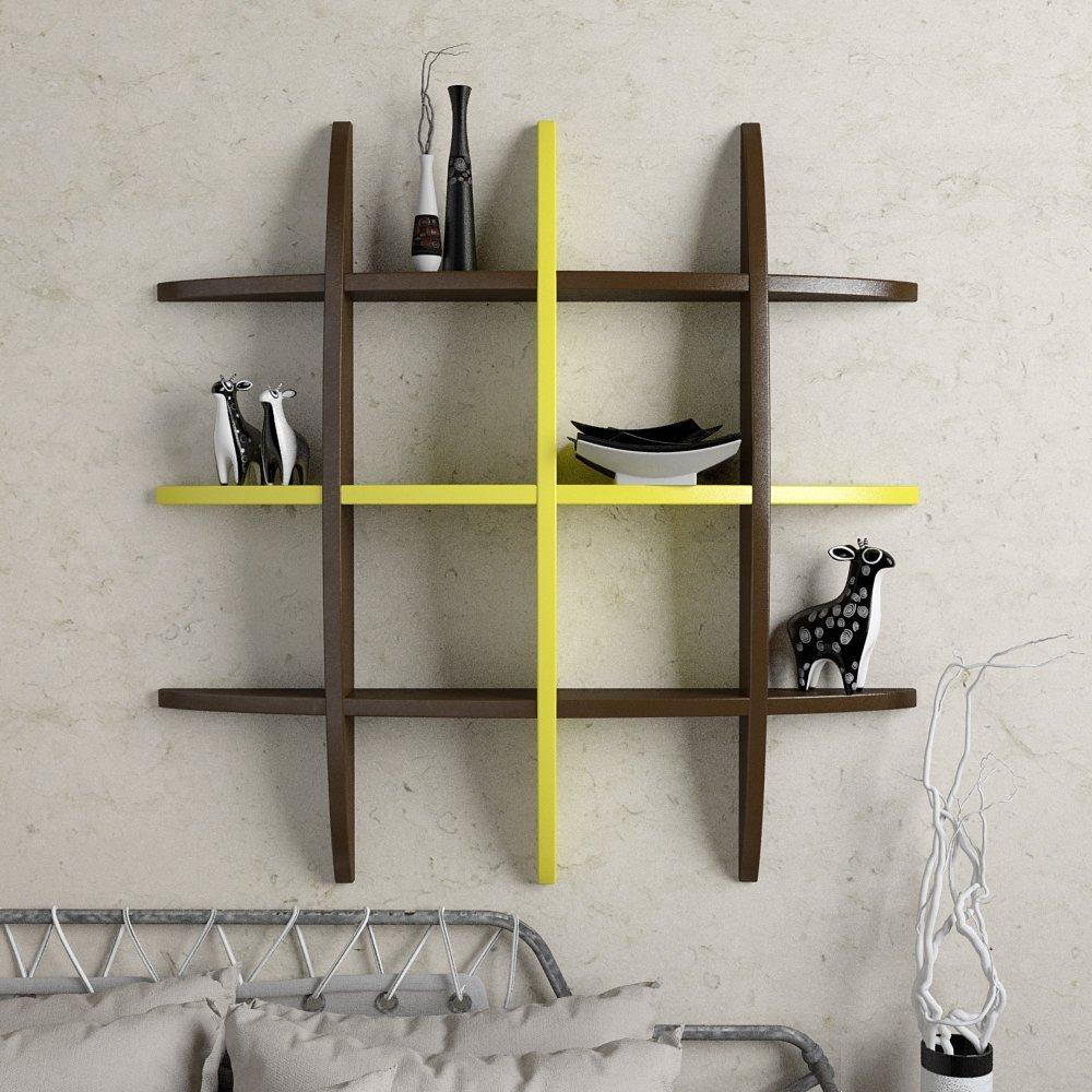 display wall shelf brown yellow for decor