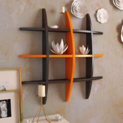 floating book shelf black orange