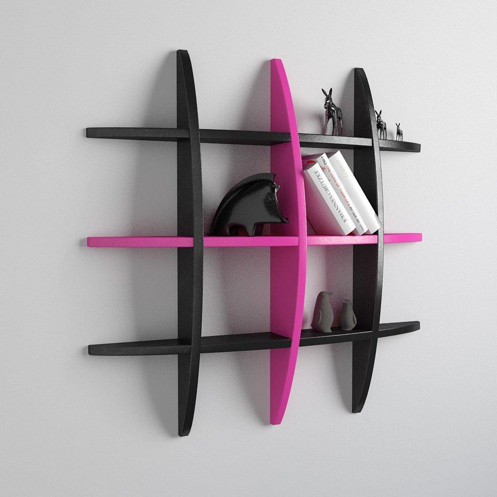 globe shape storage wall shelf black pink