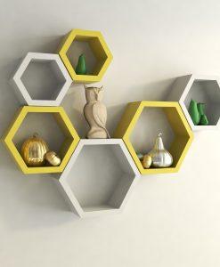 hexagon display wall shelves yellow white